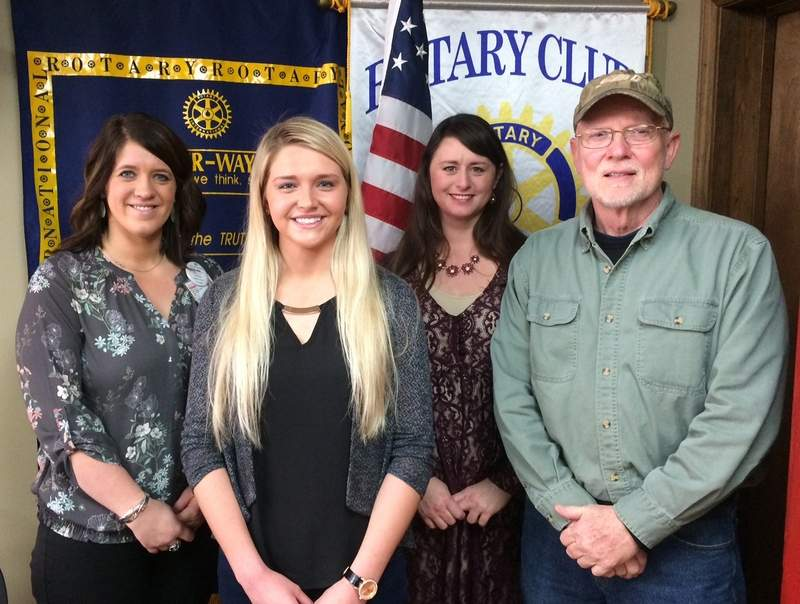 Pictured (l-r) are Caleigh Bruce, Eldorado Rotary President-Elect; Allie Armstrong; Angie Wilson, Rotary Program Chair for the week; and SIC Head Coach Archie Blair.