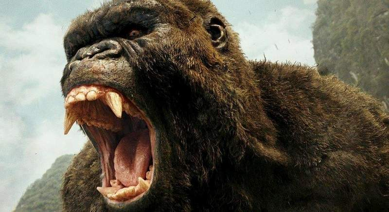 """An angry giant gorilla awaits U.S. soldiers in the old-fashioned monster movie """"Kong: Skull Island."""""""