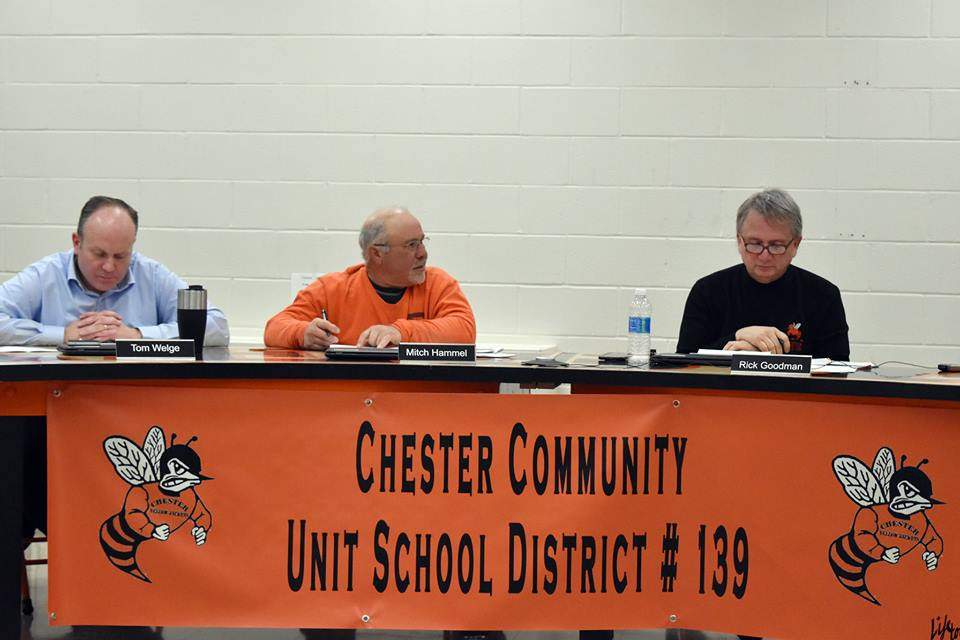 Pictured are, from left, Chester Board of Education Vice President Tom Welge, President Mitch Hammel and District Superintendent Rick Goodman at Thursday's meeting.