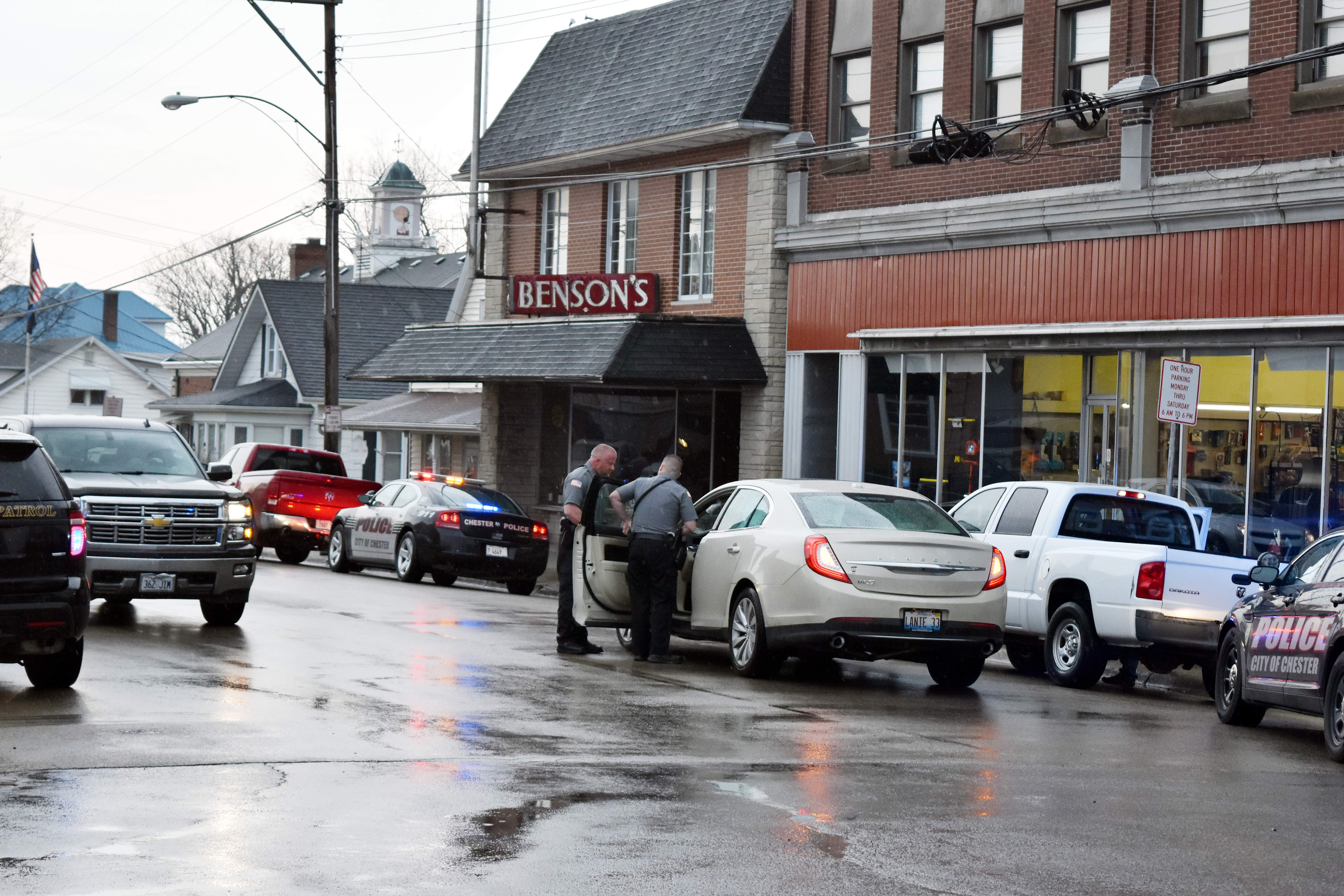 Chester Police officers attend to a two-vehicle traffic crash last Tuesday near the intersection of Swanwick and West Holmes streets. No injuries were reported at the scene.