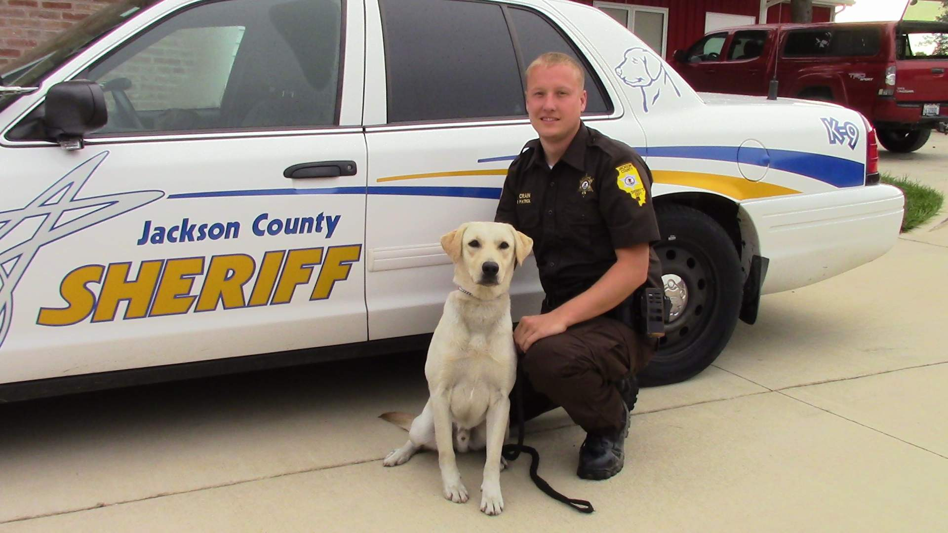 Pictured are Jackson County Brandon Crain and his K-9 partner, Gunner.