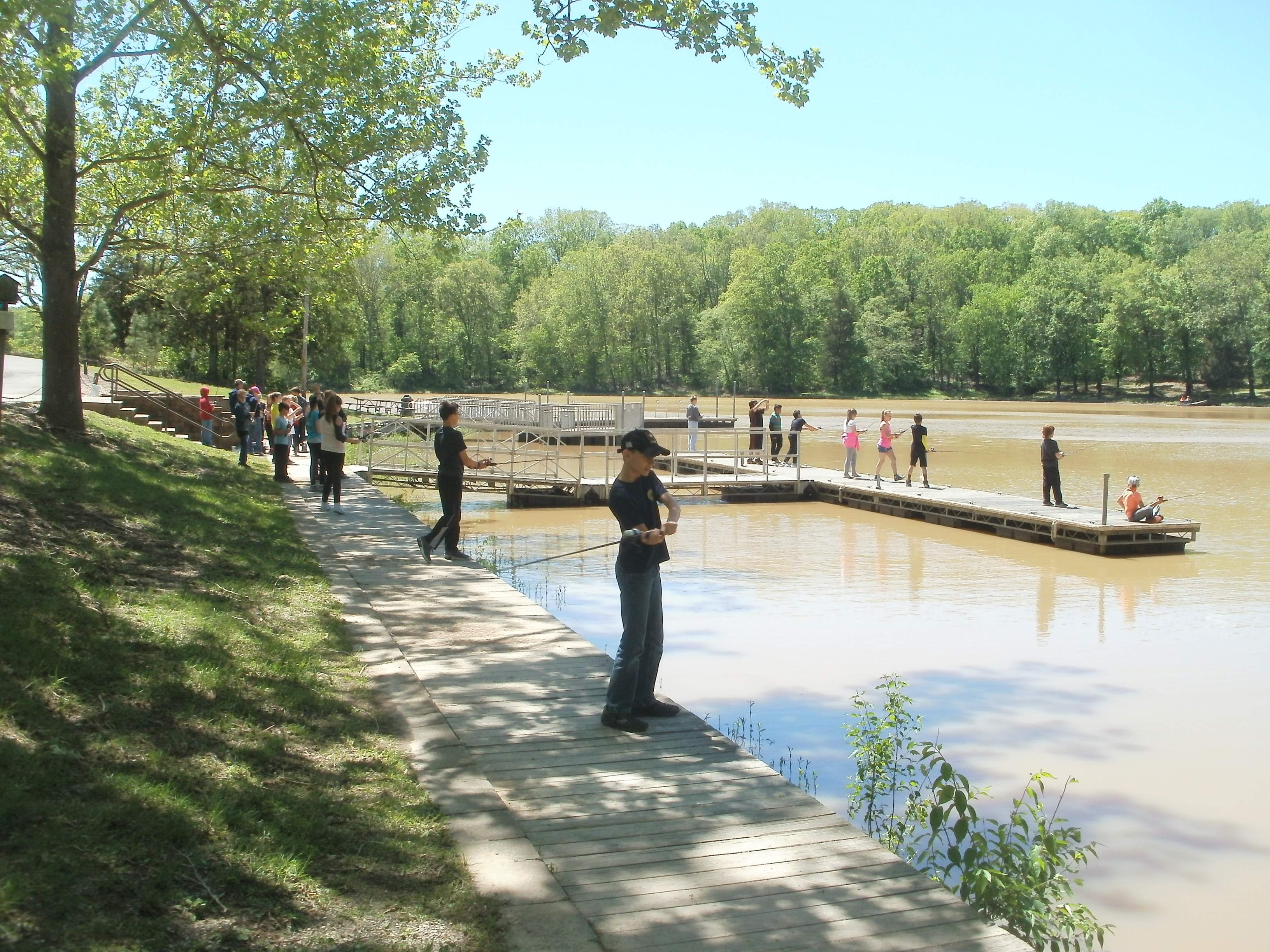 Students participate in the fishing station of Randolph County Soil & Water Conservation District's 5th Grade Conservation Day on May 2.