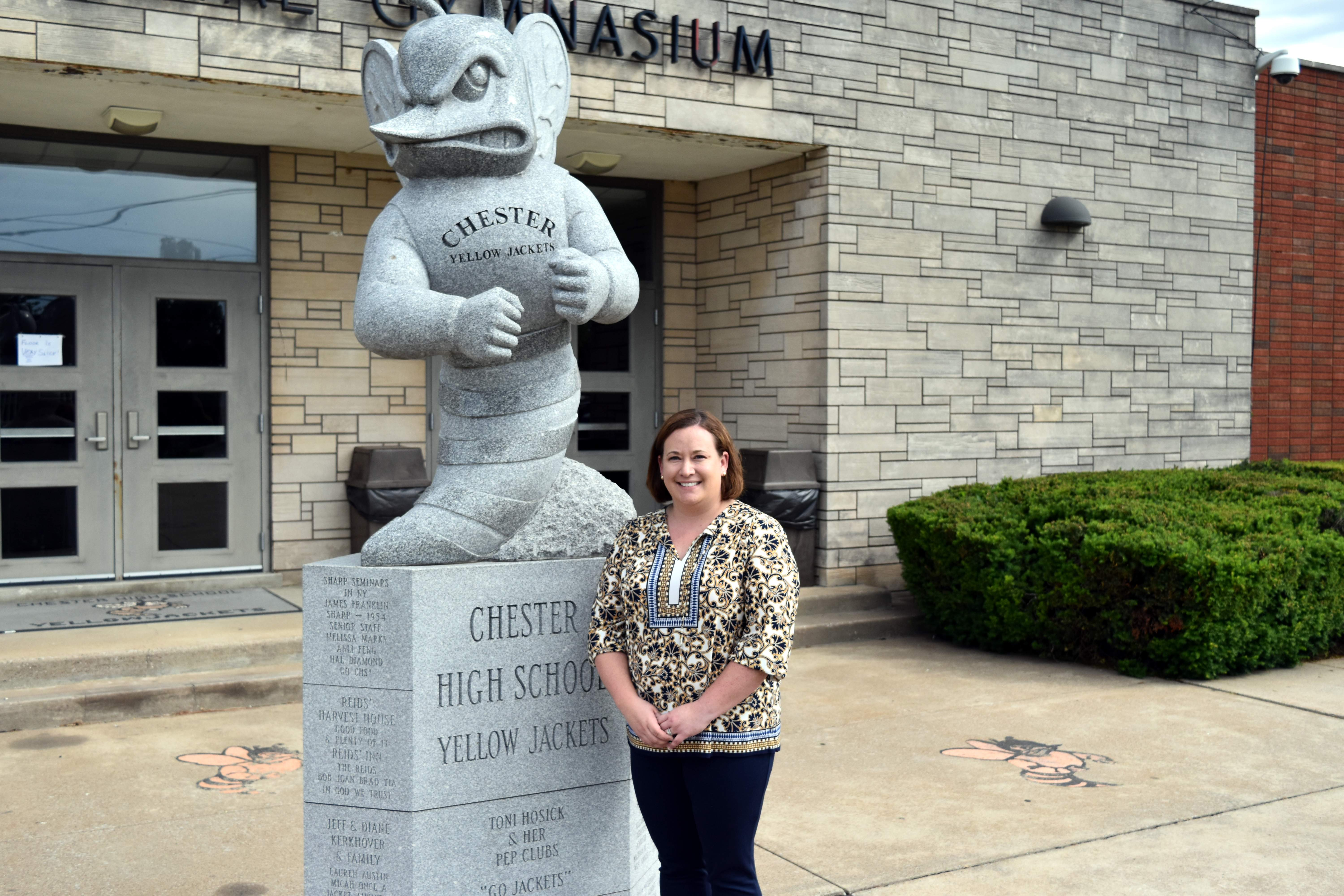 Chester High School Principal Sarah Gass is shown in front of the Stinger statue at Colbert Memorial Gymnasium. The Chester District 139 Board of Education approved Gass's resignation on Friday, effective June 30.