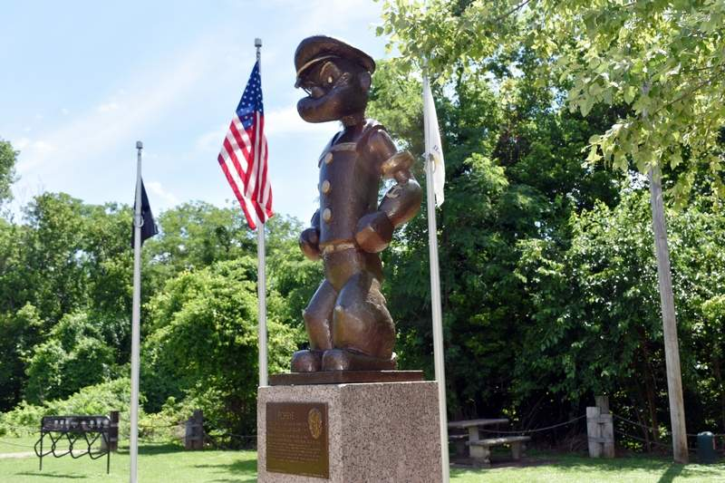 The bronze statue of Popeye the Sailor Man is shown at Segar Memorial Park next to the Chester Welcome Center. The statue celebrated its 40th anniversary on Sunday.