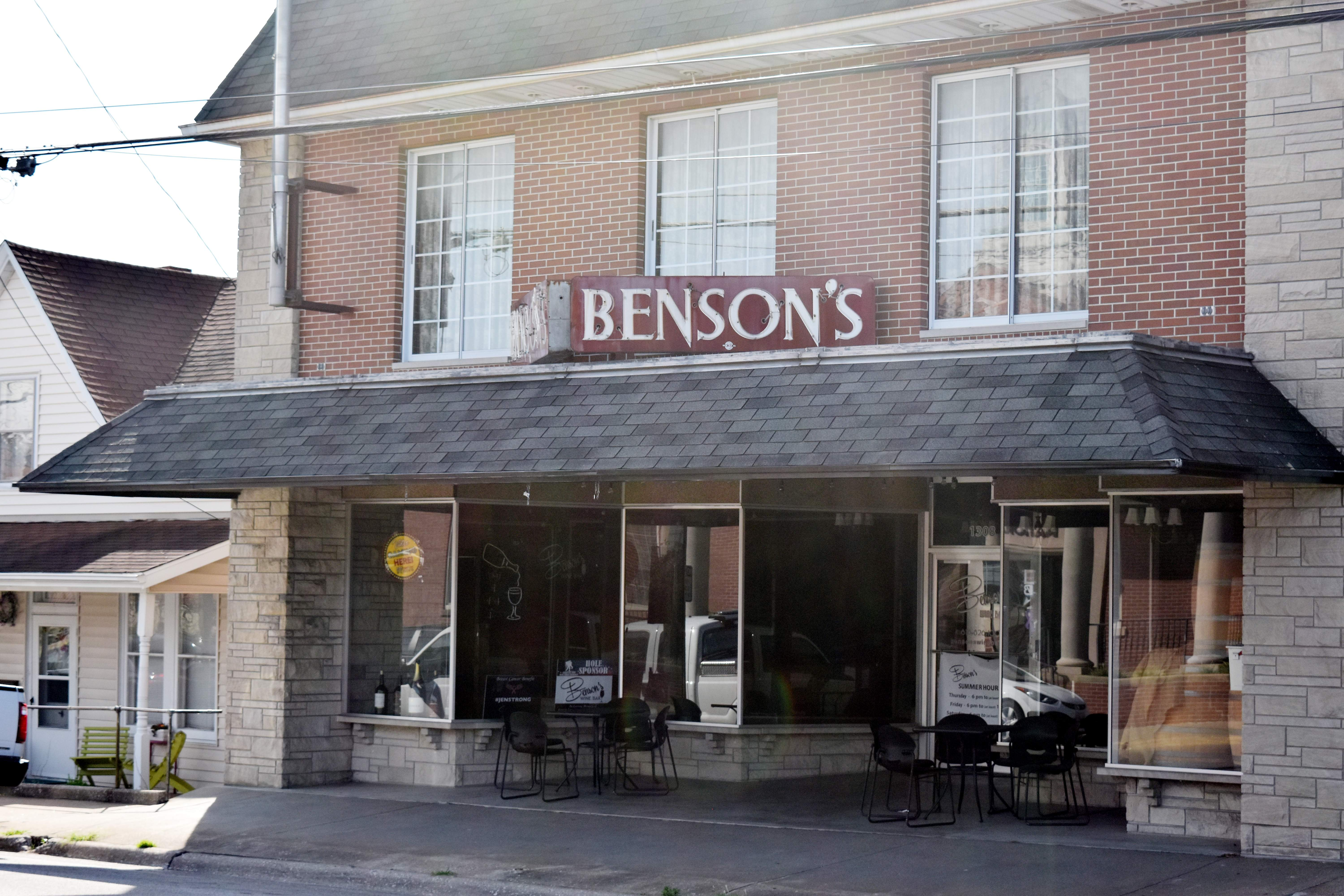 Benson's Wine Bar in Chester is shown on Monday. The business's owners have announced the wine bar is for sale.