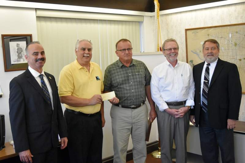 Pictured are, from left, Randolph County Commissioner Ronnie White, KRPD General Manager Ed Weilbacher, Randolph County engineer Mike Riebling, Randolph County Economic Development Coordinator Chris Martin and Commissioner Dave Holder.