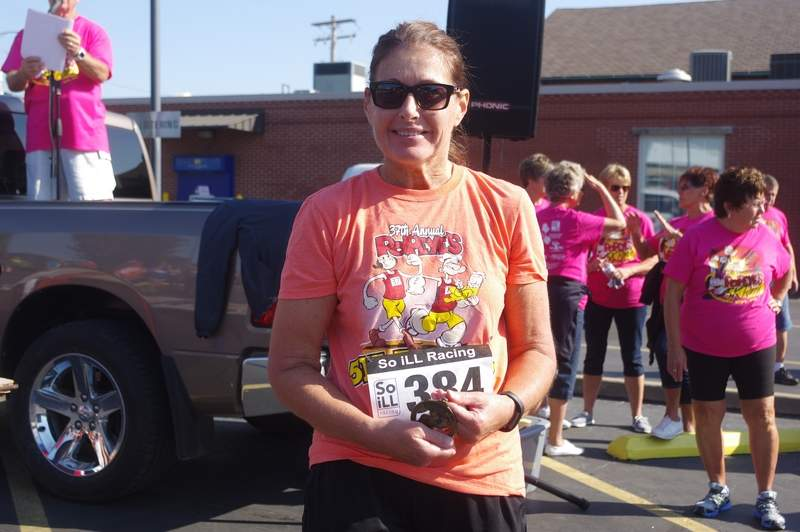 Candy Cicardi, of Pinckneyville, was the overall winner of the Female Division of the Popeye 5K Competitive Walk with a time of 38:15.8.