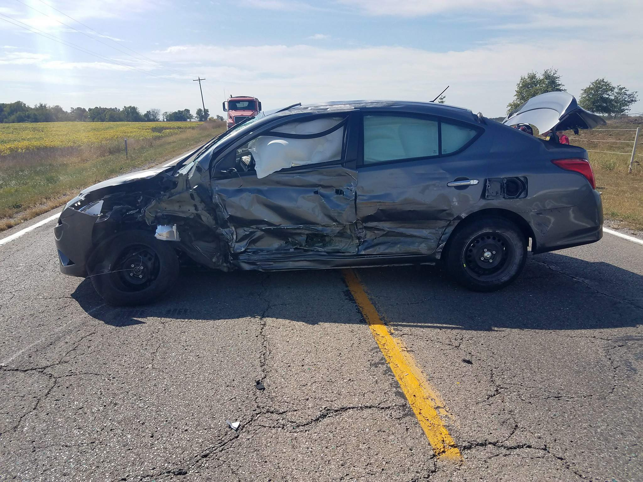 A two-vehicle accident on State Route 150, the first of two accidents about three hours apart on the highway, resulted in injuries to a Chicago resident. Pictured is one of the vehicles involved in the first accident.