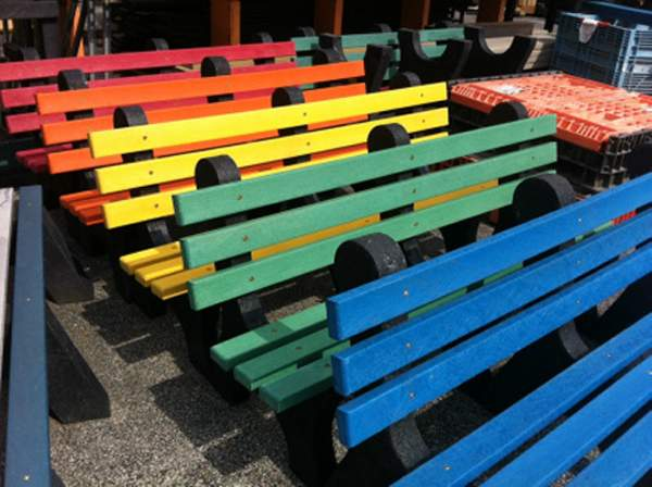 Pictured are examples of the benches that will be installed at several locations in Chester in honor of fallen Chester Police officer and volunteer firefighter James Brockmeyer.
