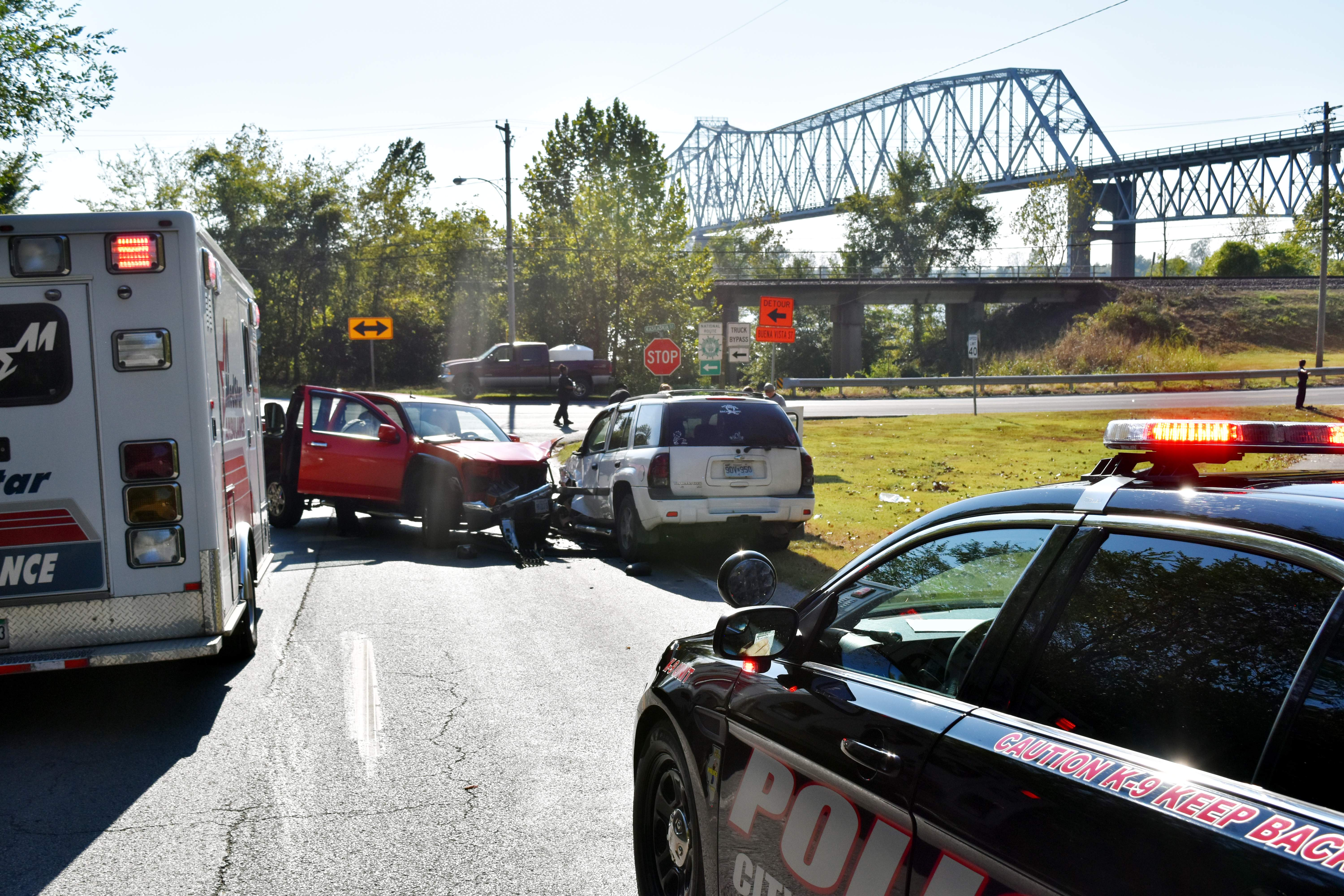 Chester police and emergency services attend to a two-vehicle accident at the intersection of Bridge Bypass Road and Kaskaskia Street on Oct. 13.