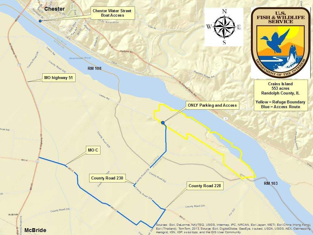 This U.S. Fish and Wildlife Service map shows Crains Island and its wildlife refuge.