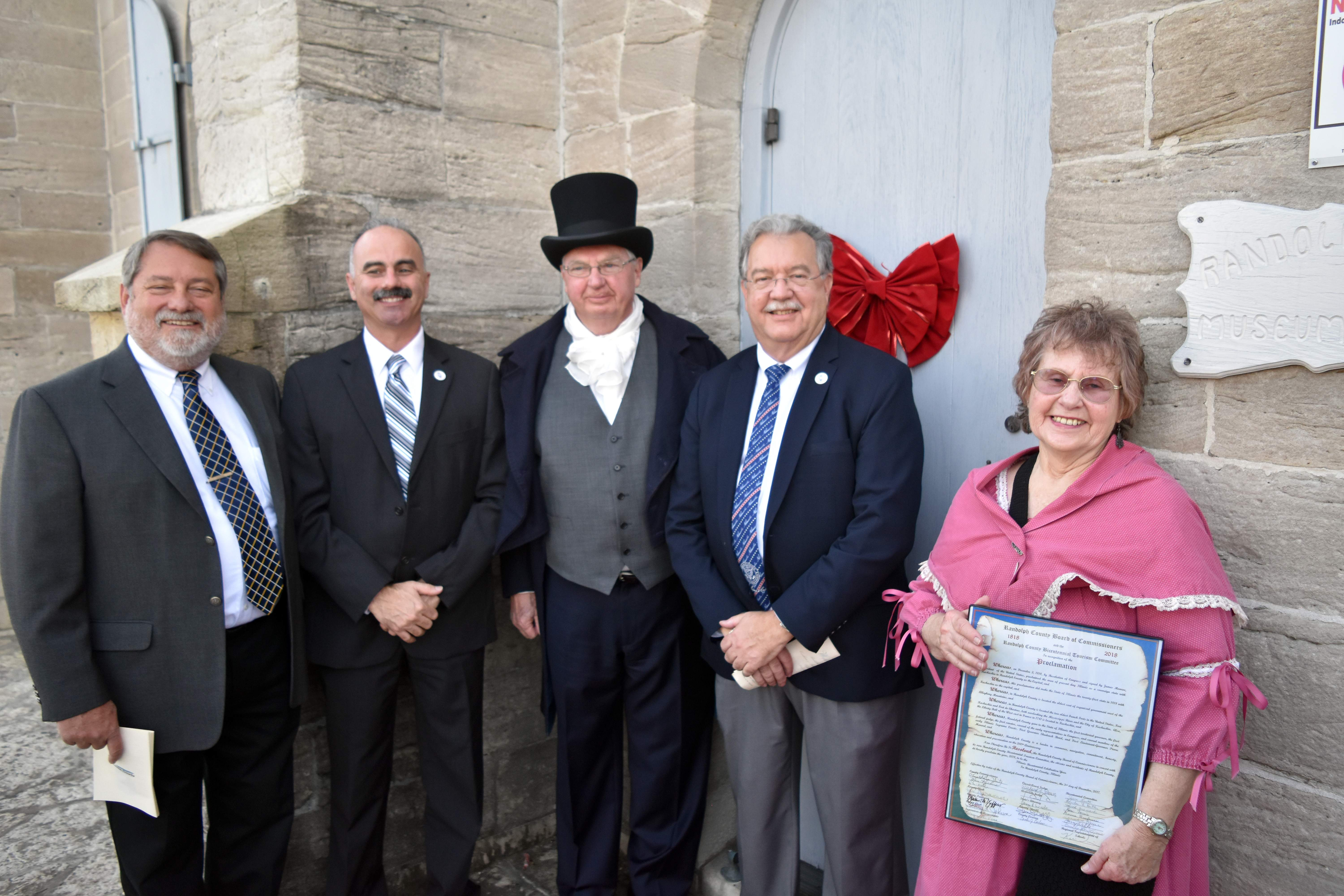 Pictured are, from left, Randolph County Commissioner Dave Holder, Commissioner Ronnie White, Ed Fisher, Commissioner Marc Kiehna and county historian Emily Lyons during a ceremony on Sunday to mark the official beginning of the state's bicentennial year.