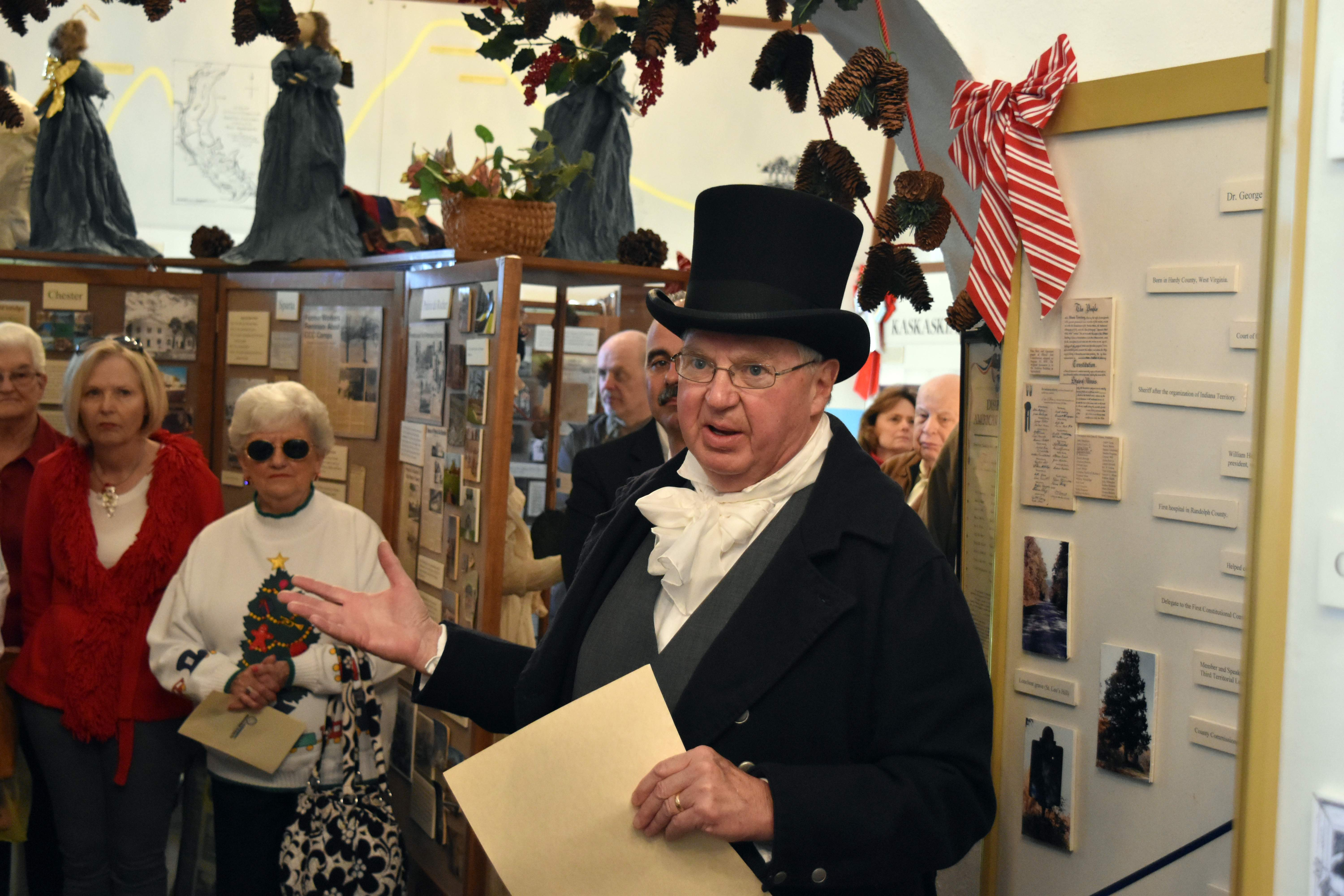 Re-enactor Ed Fisher protrays Gov. Shadrach Bond, the state's first governor, during a presentation at the Randolph County Museum.