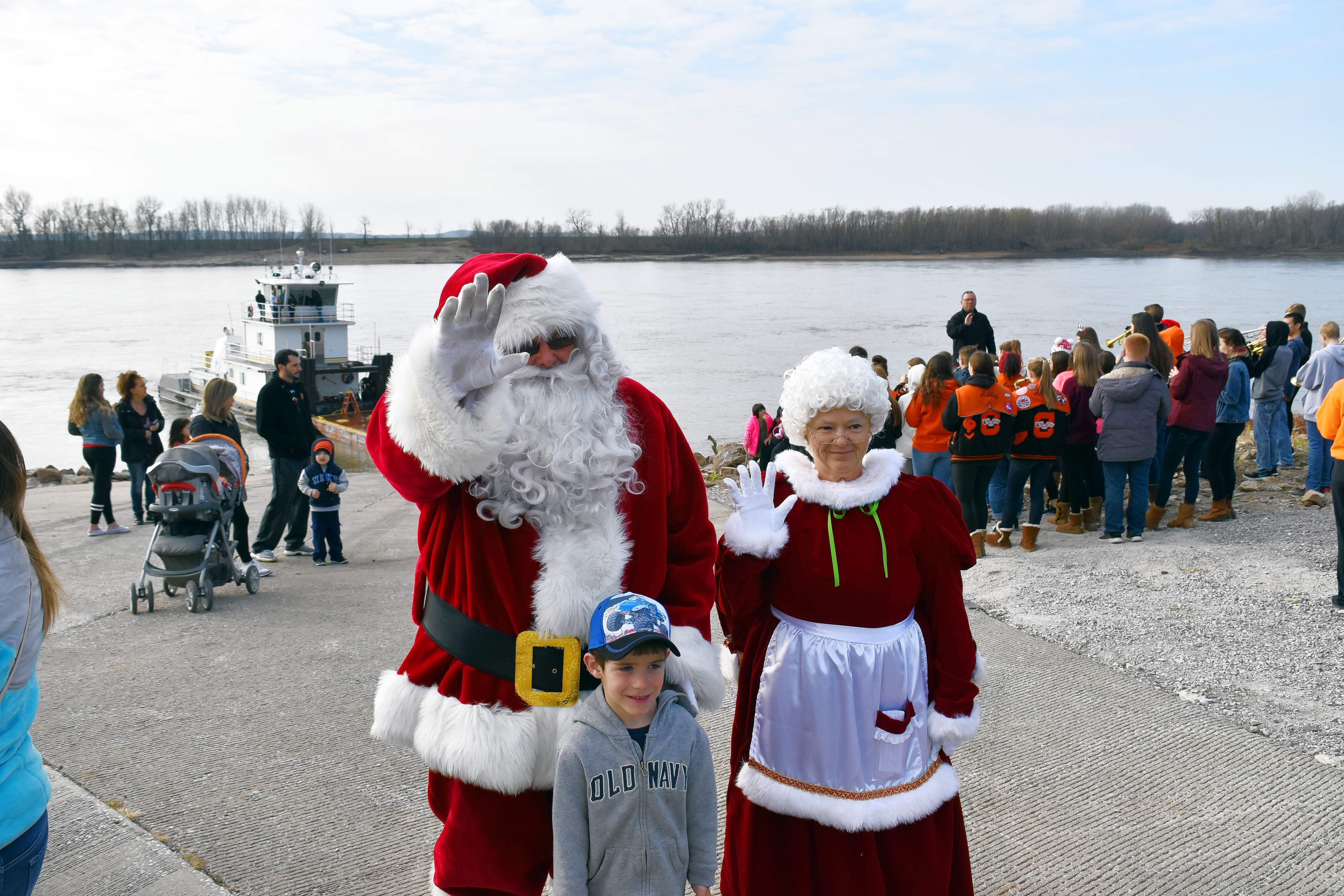 "Four-year-old Gunner Hartman, of Perryville, with Santa and Mrs. Claus after Santa's arrival at the Chester riverfront via the Port of Chester towboat ""River Hawk"" on Dec. 2."