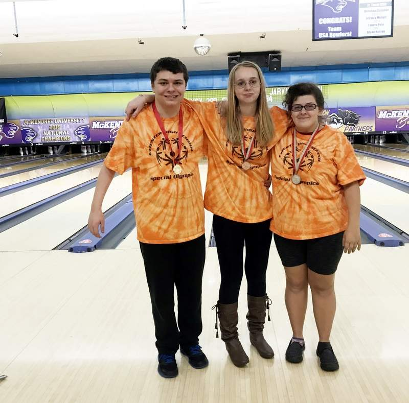 Three Chester High School students recently competed at the Illinois Special Olympics sectional bowling tournament held at Fairview Heights on November 5. Pictured are, from left, Jeffrey Dobyns, Amber Essman and Jessica Penford. Dobyns earned a first place ribbon, with Essman earning third place and Penford, second.
