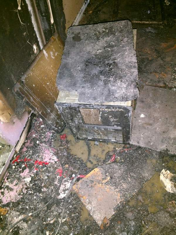 Pictured is the space heater believed to have caused the house fire on Seymour Lake Road in Ellis Grove on Saturday.