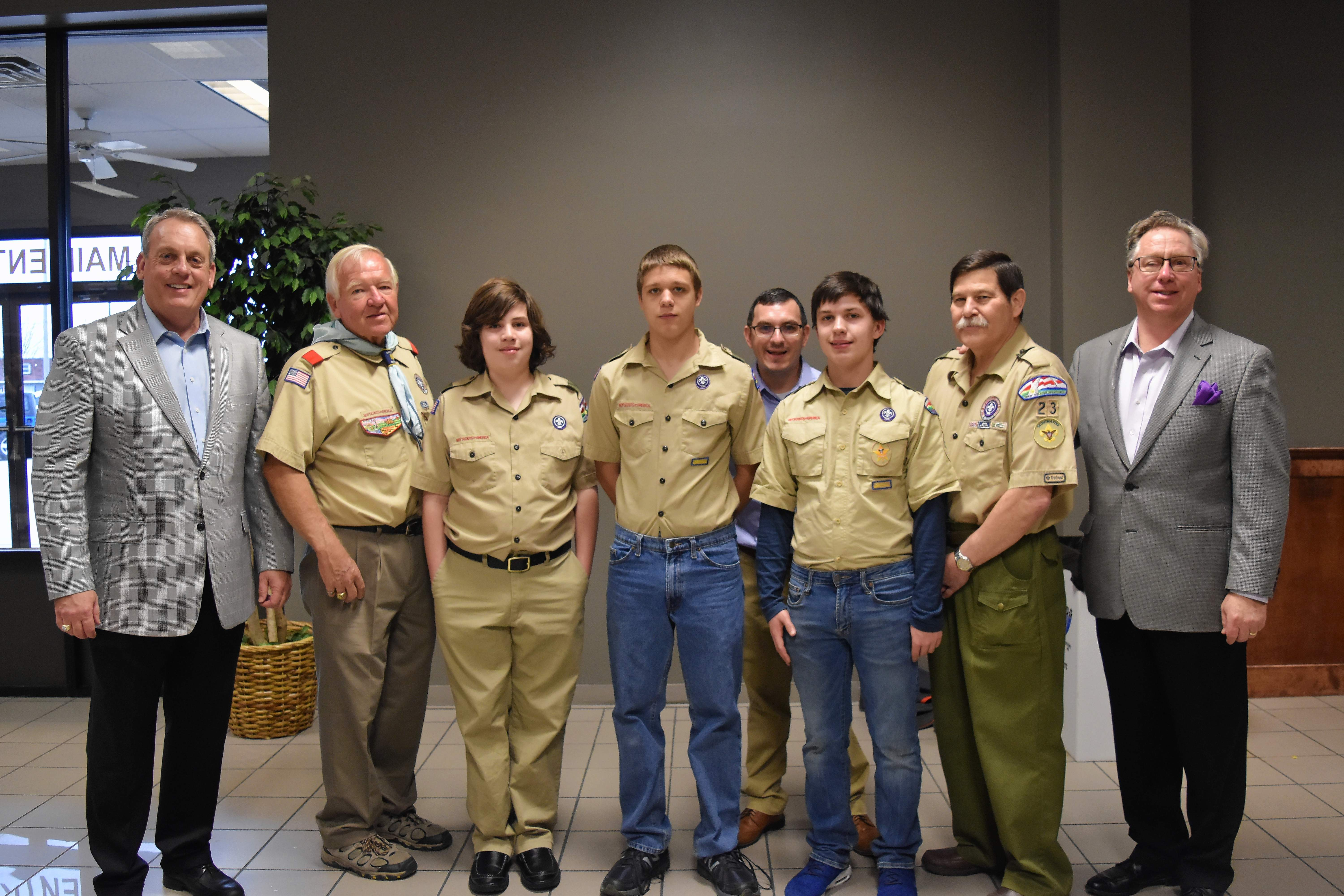 Harrisburg Boy Scout Troop 23 volunteered their help at the 20th Annual Taste of Southern Illinois. From left are state Sen. Dale Fowler, Scout Master Rick Nelson, Wilson DeNeal, Roger Head, Scout leader Justin Fulkerson, David Mitchell, Scout leader Bob Dick and Taste of SI Founder Michael Tison.