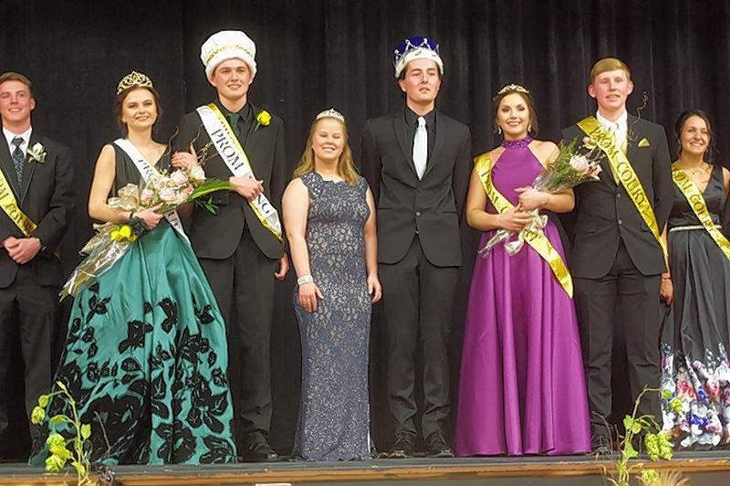 Chester High School 2018 Prom Royalty includes, from left, Sydney Korando, 2018 Queen; Zach Zappa, 2018 King, Emily Tudor, Retiring 2017 Queen; Jack Weir, Retiring 2017 King; Shea Petrowske, 2018 Princess; and Jakob Cushman, 2018 Prince.