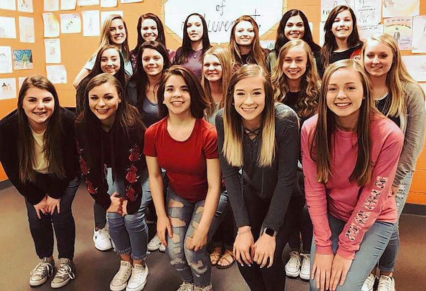 Chester High School Cheerleaders honored at the 2017-2018 CHS Cheer Banquet include, front row from left: Emily Atchison, Ashley Hennrich, Faye Hathaway, Kaylah Hasemeyer, and Allison Kennon. Middle row: Kamryn Wingerter, Ashtyn Jany, Jessica Handel, Addie Blechle, and Cara Childs. Back row: Kennedy Herrell, Lauren Soellner; Elyzabeth Mitchell, Parker Knippa, Amira Al-Jassim, and Melody Colonel. Not pictured: Karson Colvis.