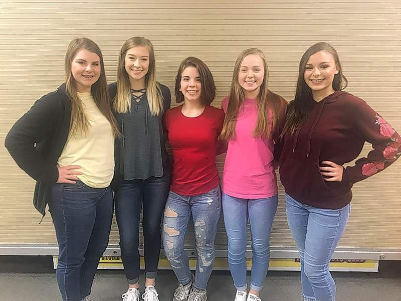 Chester High School had six senior cheerleaders for the 2017-2018 season. From left, Emily Atchison, Kaylah Hasemeyer, Faye Hathaway, Allison Kennon, and Ashley Hennrich. Not pictured: Karson Colvis, Team Captain.