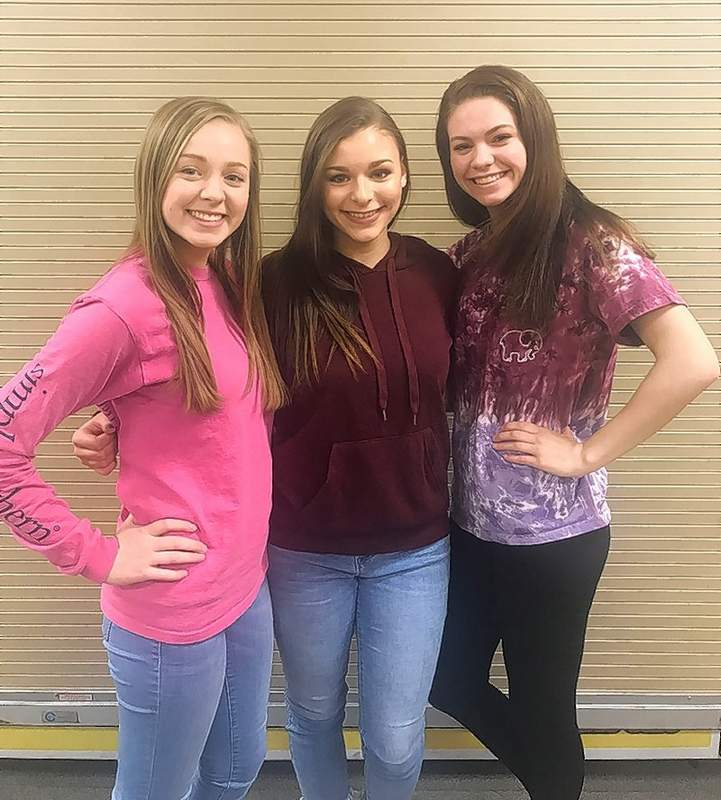 "Chester High School honored the 2017-2018 Cheerleading Squad with a Banquet and Awards Program Tuesday March 20. Major cheer awards were presented to the following three CHS Cheerleaders, from left, Allison Kennon, ""Most Skilled Award,"" Ashley Hennrich, ""Most Spirited Award,"" and Lauren Soellner, ""Most Improved Award."""