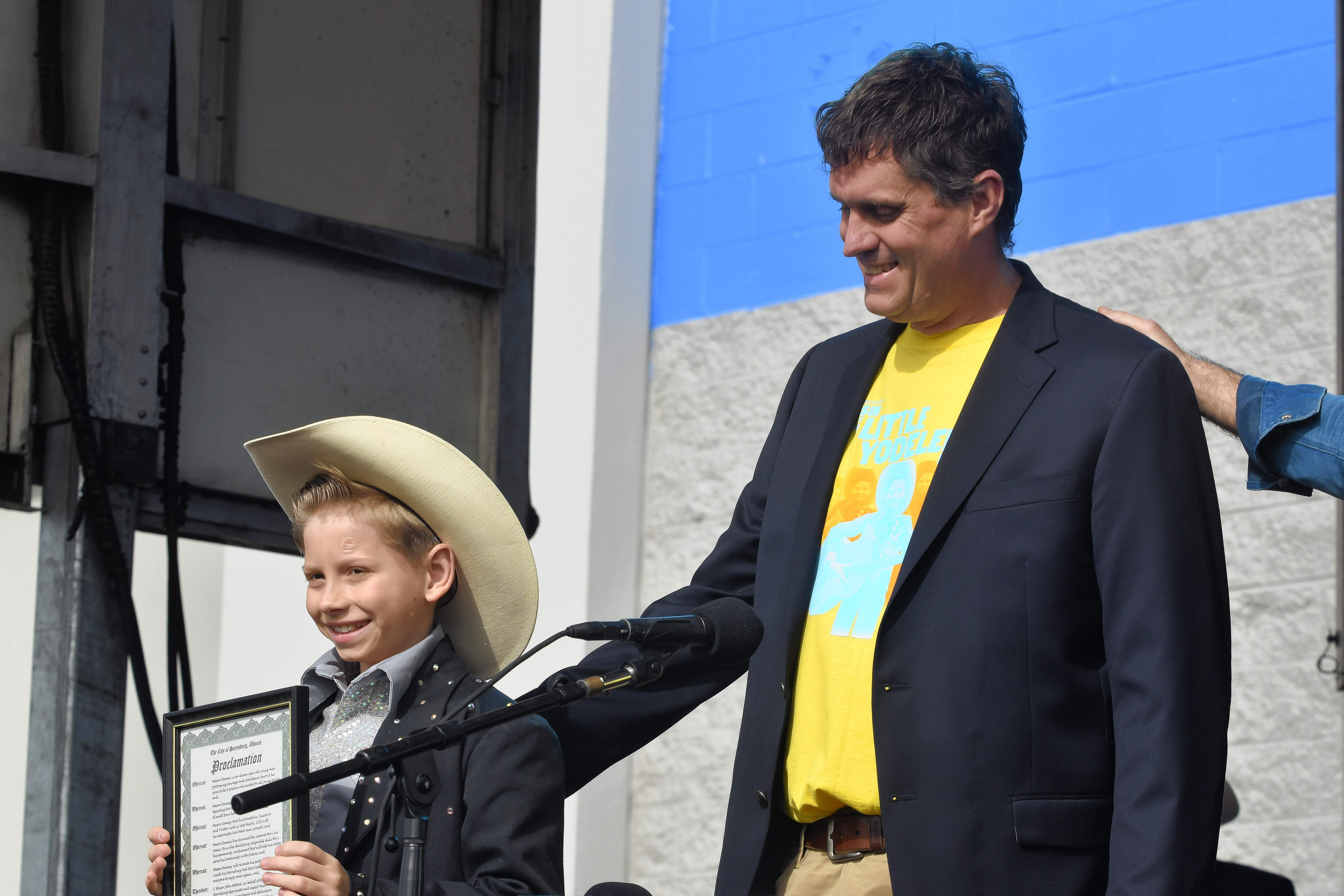 "Mason Ramsey shows off his proclamation from Harrisburg Mayor John McPeek declaring Wednesday ""Mason Ramsey Day"" in Harrisburg."