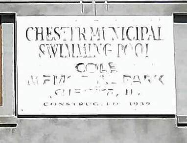 The faded sign on the Chester Swimming Pool shows the wear on the 77-year-old structure.