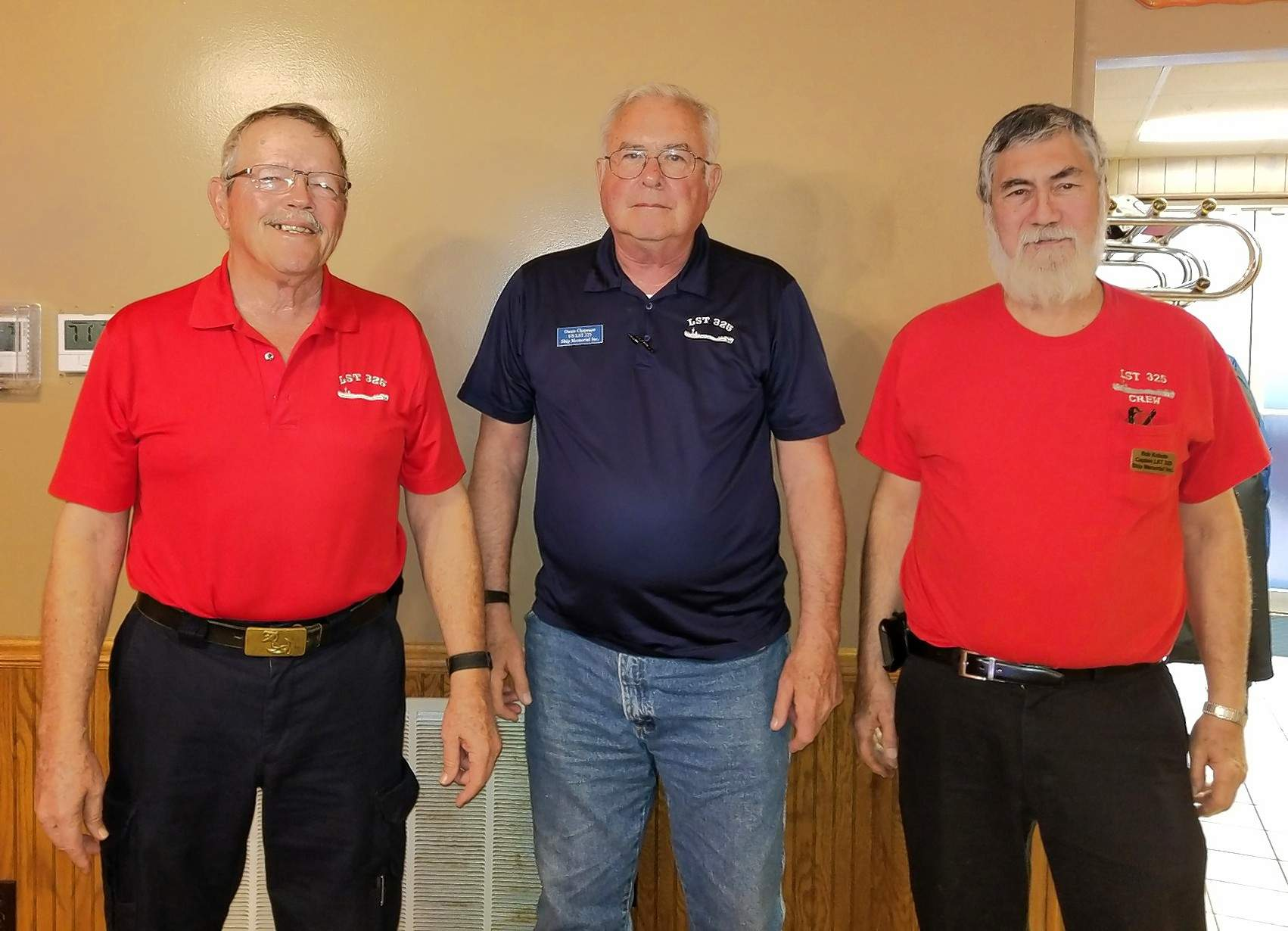 Representatives of the USS LST 325 Ship Memorial, Inc. were guest speakers at the April 24 luncheon meeting of the Chester Chamber of Commerce. From left, Owen Chapman, catering officer and vice treasurer; John Tallent, president, and Captain Bob Kubota, commanding officer.