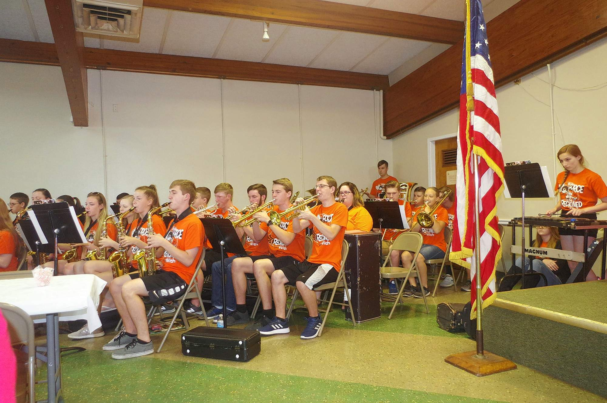 "Jim Beers Photo The Chester High School Band, under the direction of Steve Colonel, perform at the 2018 Chester Memorial Day Service Monday May 28. The State Champion ensemble performed the ""National Anthem,"" ""Armed Forces Medley,"" and ""America the Beautiful."""