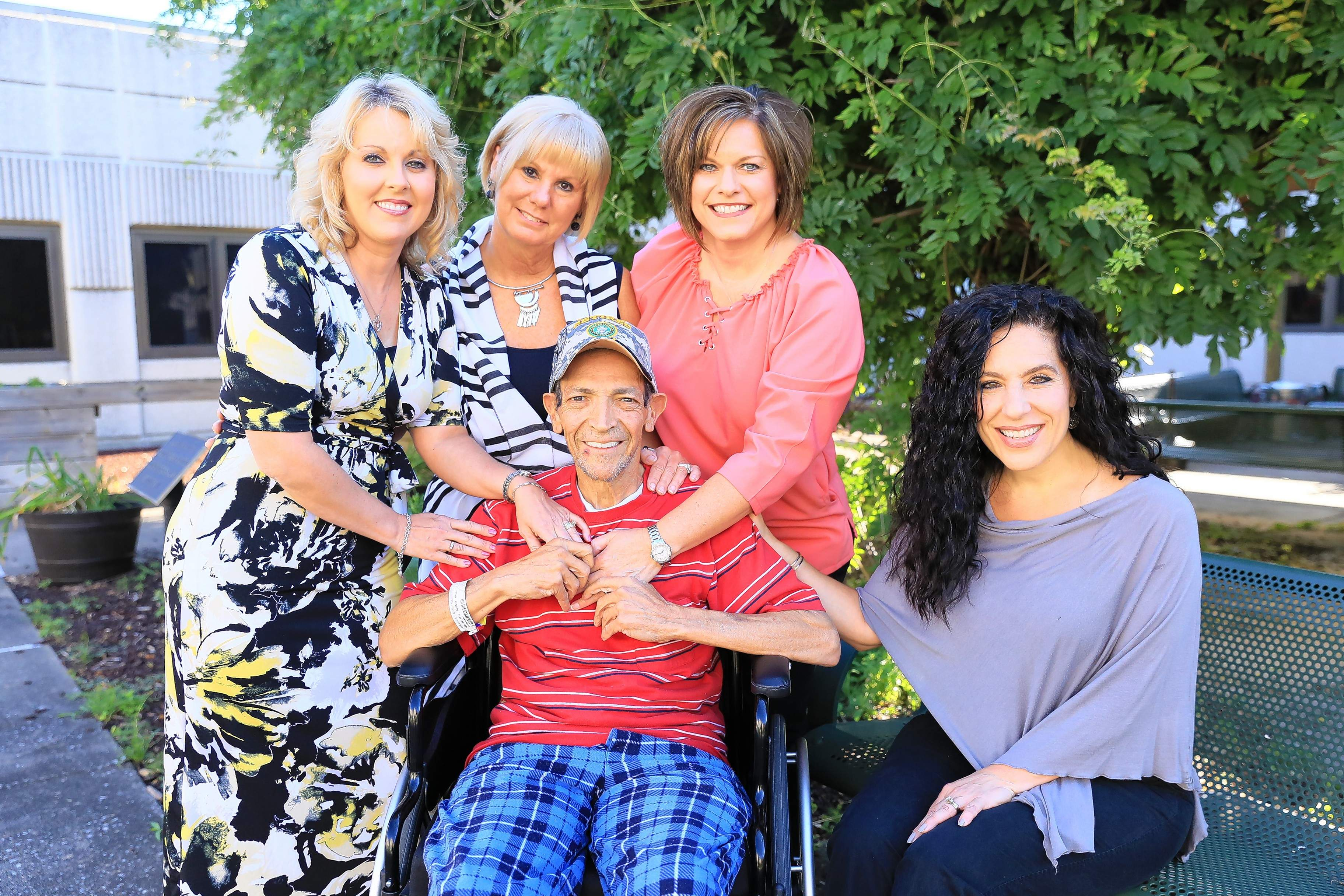 Edwin Vega's dream is made possible from the tireless efforts of Marion VAMA employees (from left) Dawn Erwin and Melinda Perry, LEAD program participates, as well as SusAnna Cook, Palliative Care Coordinator, and Maria Buehler, Voluntary Service Officer.