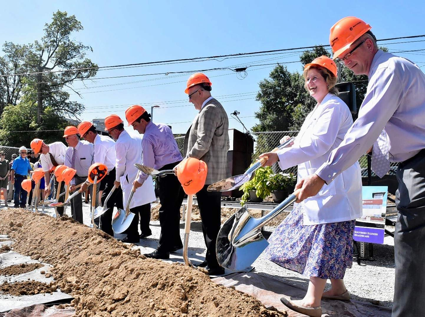 Leaders with SIU and Southern Illinois Healthcare broke ground Tuesday on a new clinic and teaching facility now under construction north of Memorial Hospital of Carbondale.