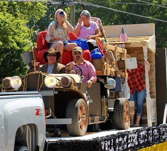 """First State Bank of Campbell Hill had their float set to the theme of """"The Beverly Hillbillies"""" TV show during the Steeleville Fourth of July parade."""