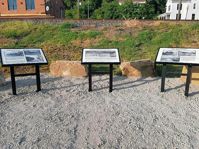 Signs containing information on Chester's history as a bustling riverfront town are part of the city's Beautification and Tourism Committee's work to improve the Riverfront.