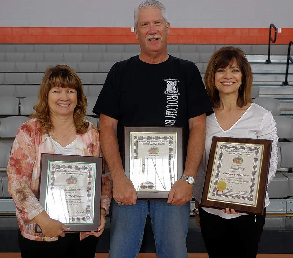 Cindy Bunselmeyer, left, Dallas Redeker and Rosie Tindall have retired from Chester School District 139. Bunselmeyer taught for 34 years at Chester Grade School. Redeker taught for 33 years at Chester High School and Tindall taught for 23½ years at Chester Grade School.