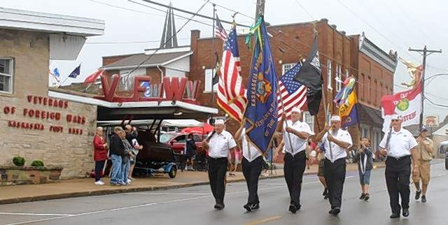 The Chester VFW Color Guard leads the way during the 39th Annual Popeye Picnic parade Saturday.