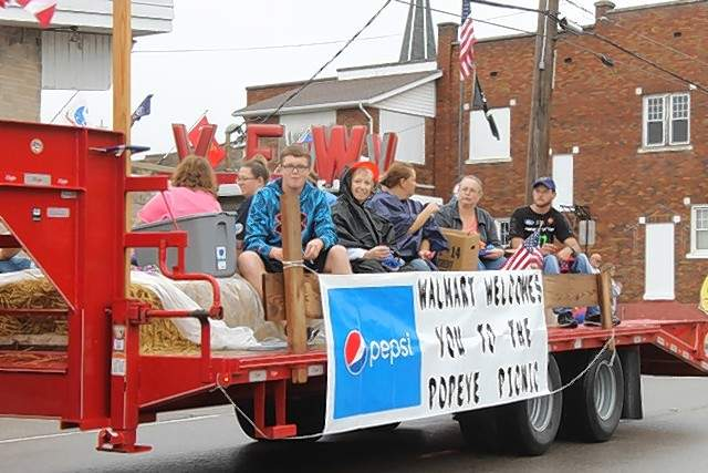 The Walmart Welcome float at the 39th Annual Popeye Picnic parade.