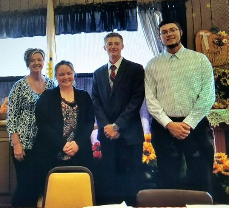 From left, Mary Jo Homan, Rotary member and a member of the Start Up board of directors; program facilitator Jamie Matthews; Caleb Langrehr and Nick Guebert, both Red Bud High School students, provided the Chester Rotary Club with details on the program at its Sept. 26 meeting.