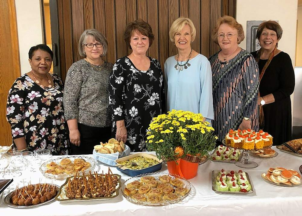Members of the Chester Women's Club who hosted the Officers' Tea at the Sept. 28 meeting of the club. Left to right, Joyce McGee, Recording Secretary; Jane Stallman, Treasurer; Nikki Aubuchon, First Vice President; Sandra Starr, Second Vice President; Chris Bowles, President; and Gwendy Garner, Publicity Chairman.