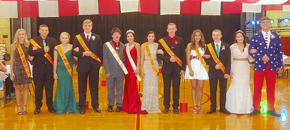 The 2018 Chester High School Homecoming Court includes, from left, Addie Blechle, junior; Chett Andrews, junior;, Cara Childs, Queen Runner-Up; Drake Bollman, King Runner-Up; Austin Schweitzer, Homecoming King; Shea Petrowske, Homecoming Queen; Kamryn Wingerter, senior; Jakob Cushman, senior; Ryn Petrowske, junior; Erik Cowell, senior; Jocelyn Abernathy, 2017 Homecoming Queen; and Nick Meyer, filling in for 2017 Homecoming King Pablo Villanueva.