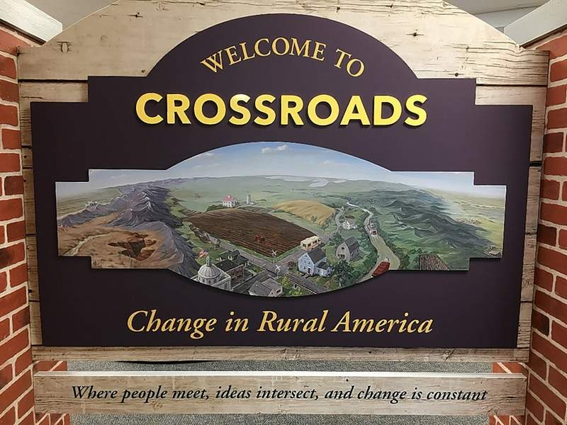 """A special painting welcomes guests at the first Crossroads display. Visit the exhibit to """"see"""" the """"seas"""" in this painting."""