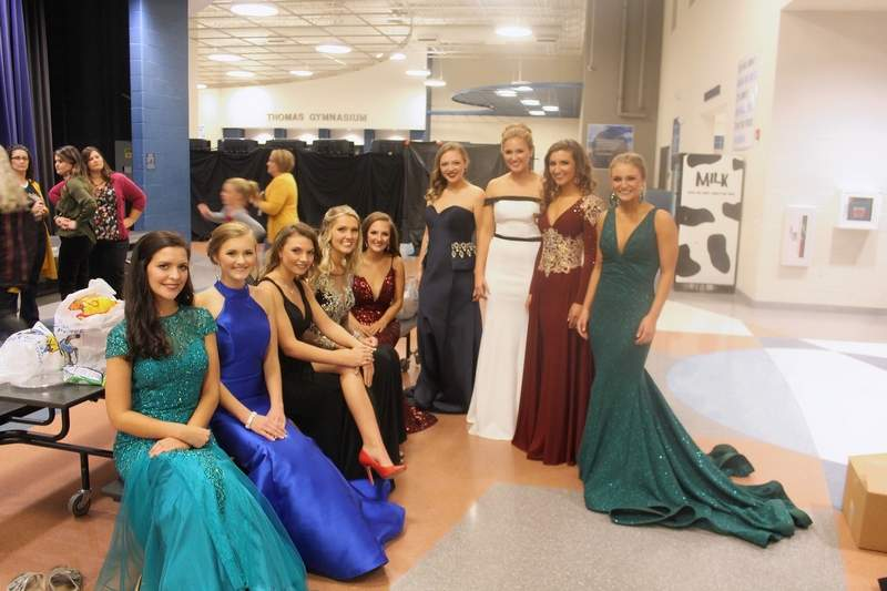 Mardi Gras Queen Lexie Tourville, of Murphysboro, second from right, with the rest of this year's Mardi Gras court: From left, Sarah Issler, Pinckneyville; Keely Epplin, Tamaroa; Consuela Moll, Pinckneyville; Alyssa Lohmann, Nashville; Joelle Shelton, Carterville; Chloe Thies, Willisville; Olivia Cravens of Du Quoin; Tourville; and Emily Kuberski, Tamaroa.