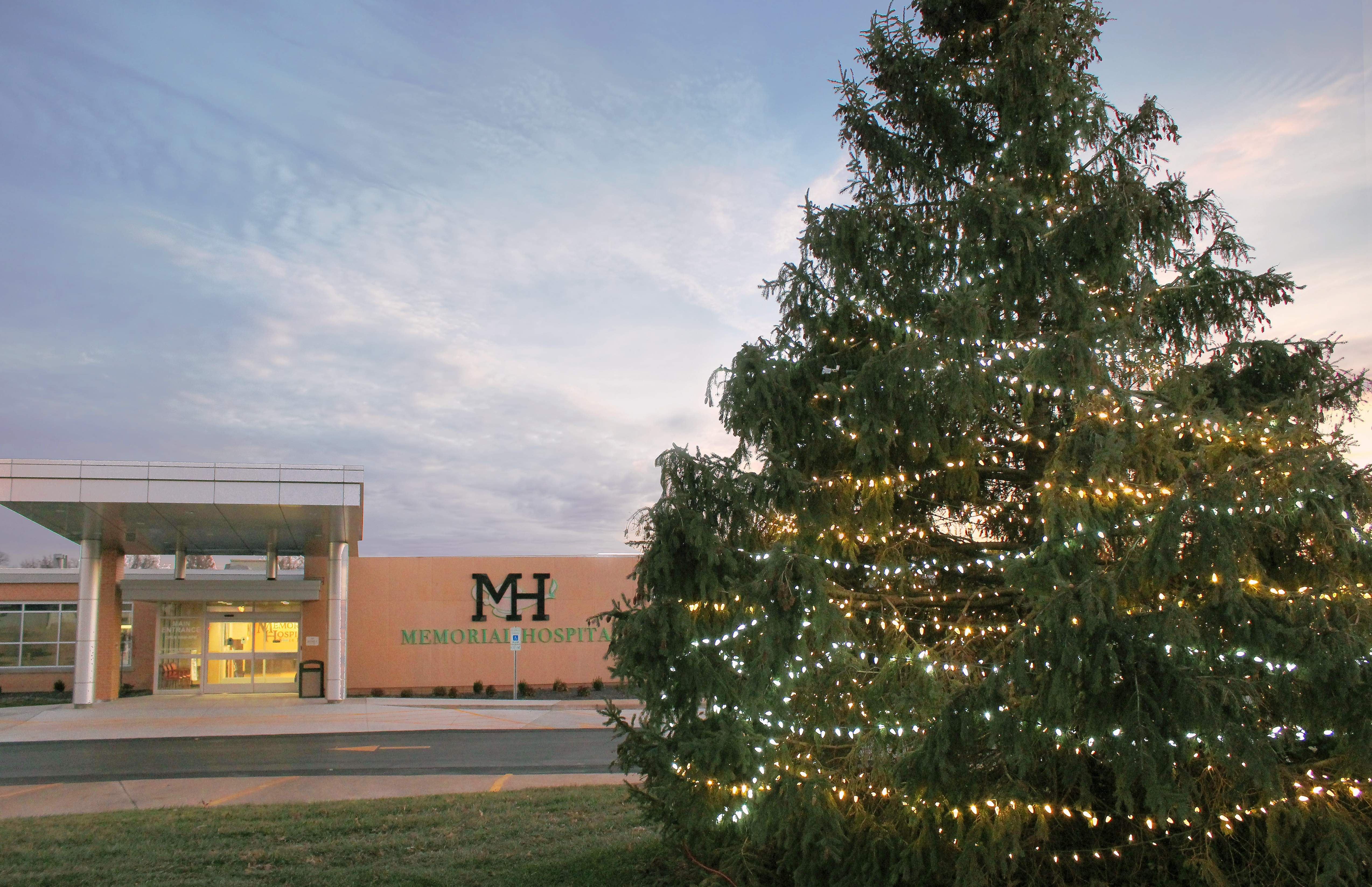 The Christmas tree was lit Friday outside Memorial Hospital.