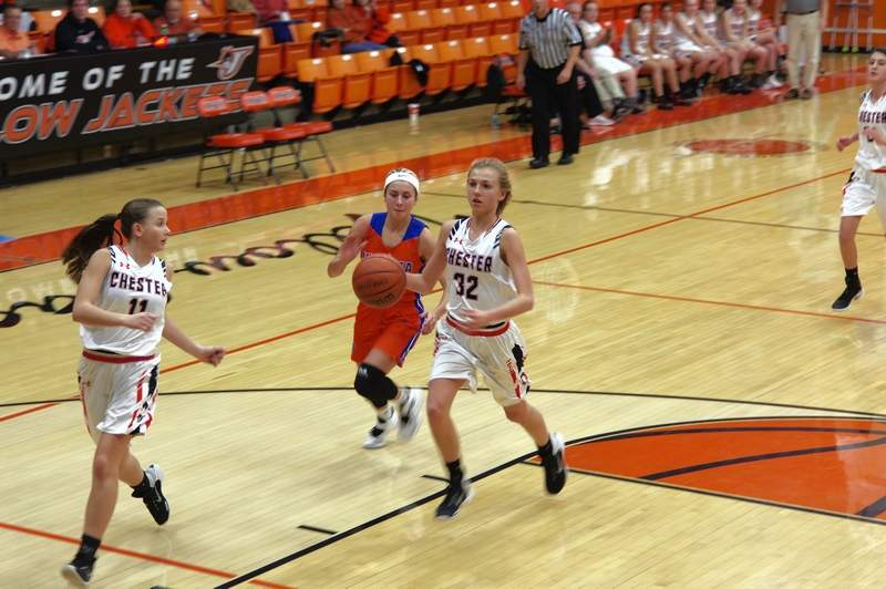 Sophomore Josie Kattenbraker makes a move to the basket against the Vienna Lady Eagles.