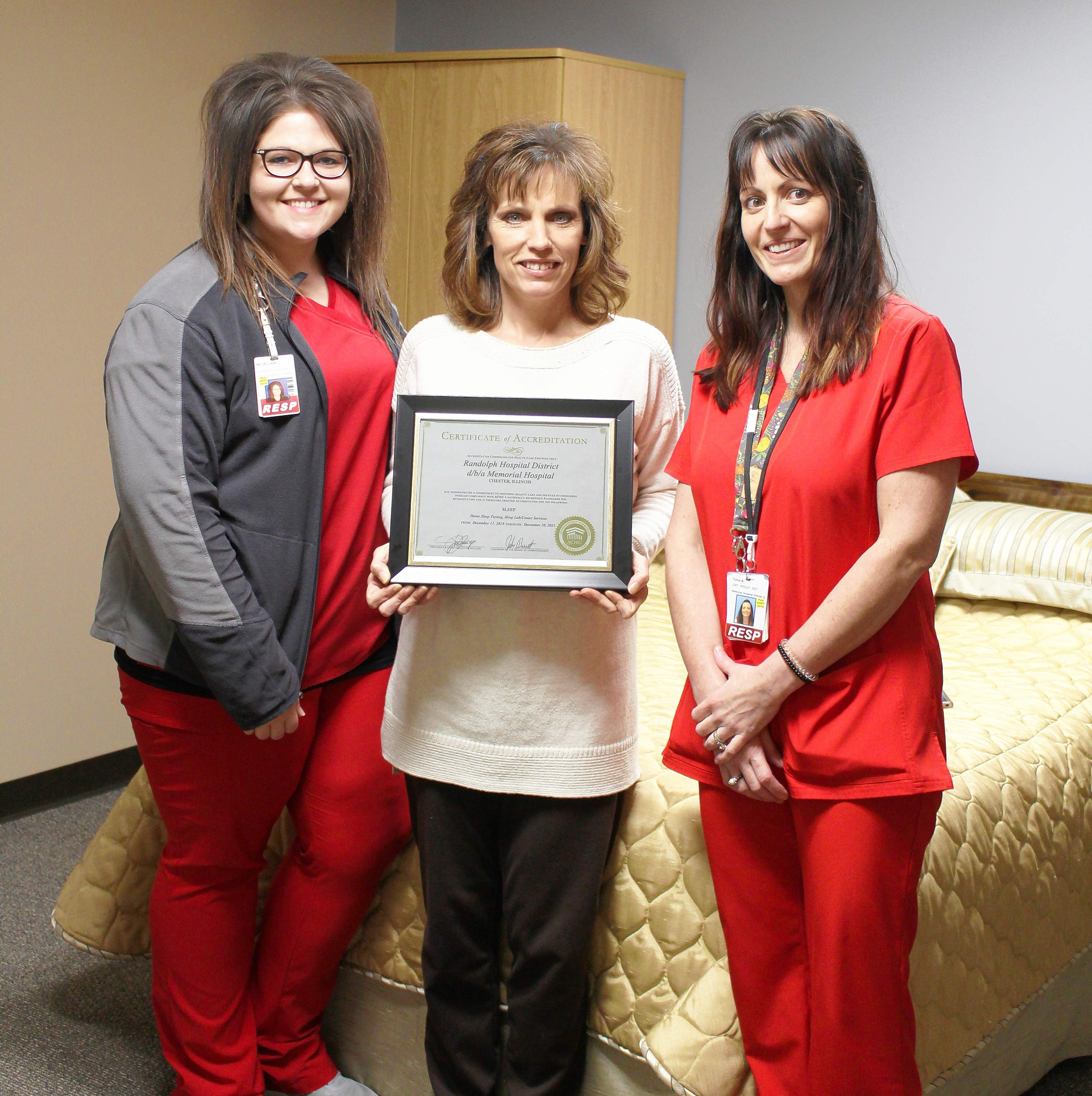 From left, Sleep Tech Morgan Cash; Georgia Allen, director of Cardiopulmonary/Sleep Lab and Tonia Millsap celebrate the accreditation they worked hard to obtain.