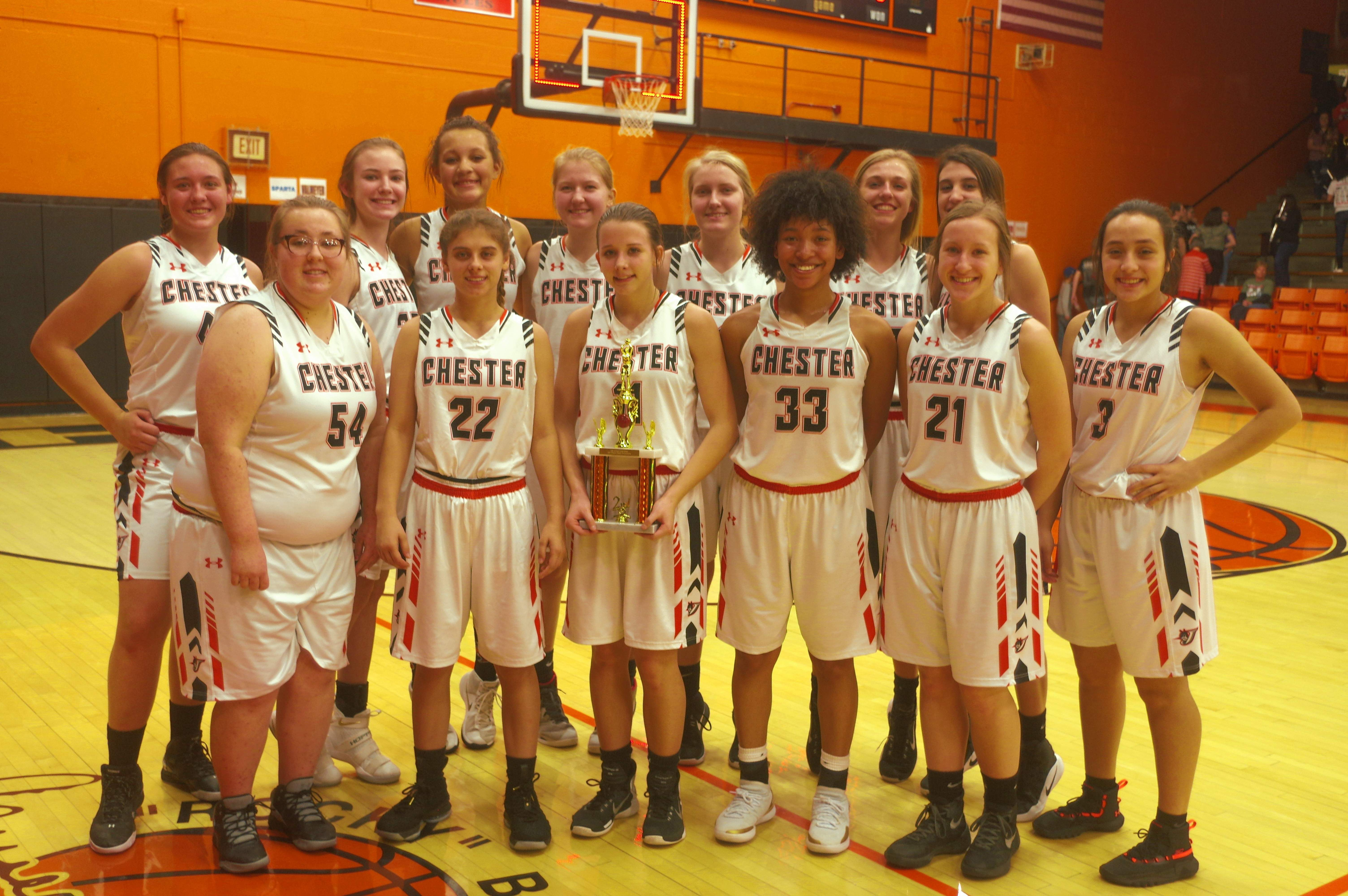 The Chester Lady Jackets with their 2nd place trophy. Front row, from left: Bailey Wahl; Torre Berger; Kendall Williams; Destiny Williams; Peyton Clendenin and Maria Nickle.Back row, from left: Alyssa Seymour; Audrey Hopper; Kailyn Absher; Katie Shinabargar; Ally Rowold; Josie Kattenbraker and Reese Chandler.The Jackets are coached by Pat Knowles, Jennifer King and Rick Powley.