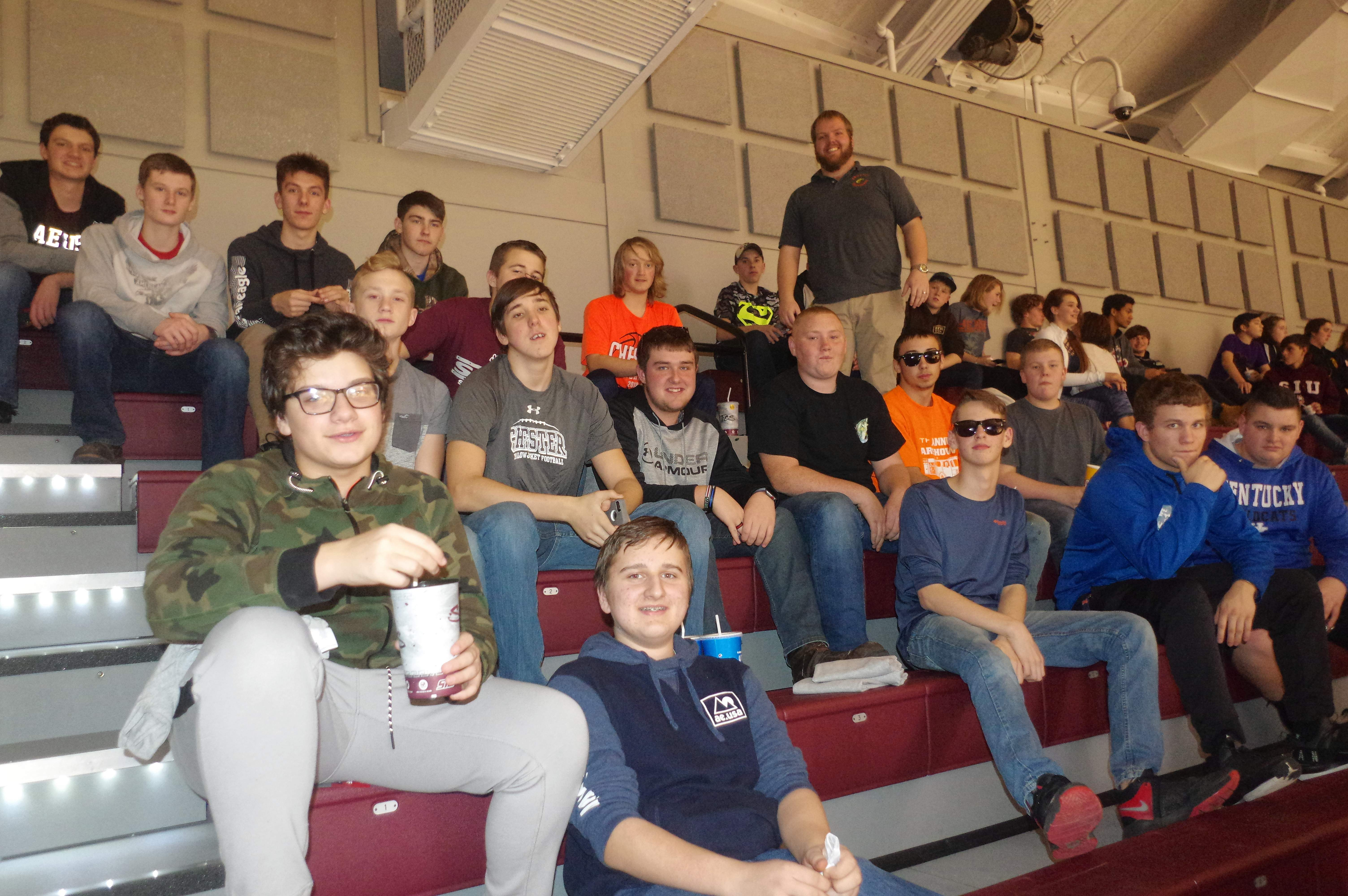 CHS agriculture teacher, Matthew Meltzer (standing, back right), brought about 30 Chester agriculture students to Ag Night at SIU.
