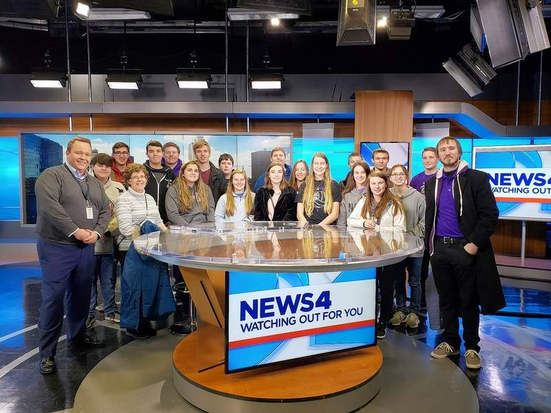 Students invade the KMOV studio in St. Louis.