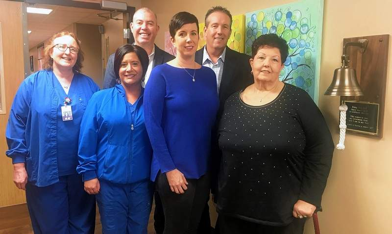 Members of the Gielow family with Memorial Hospital staff Deb Stenberg and Carrie Jo Dierks. In the back row is Adam Fagan, left, and Matt Gielow; in the front row is Kira Fagan, left, and Janet Gielow.