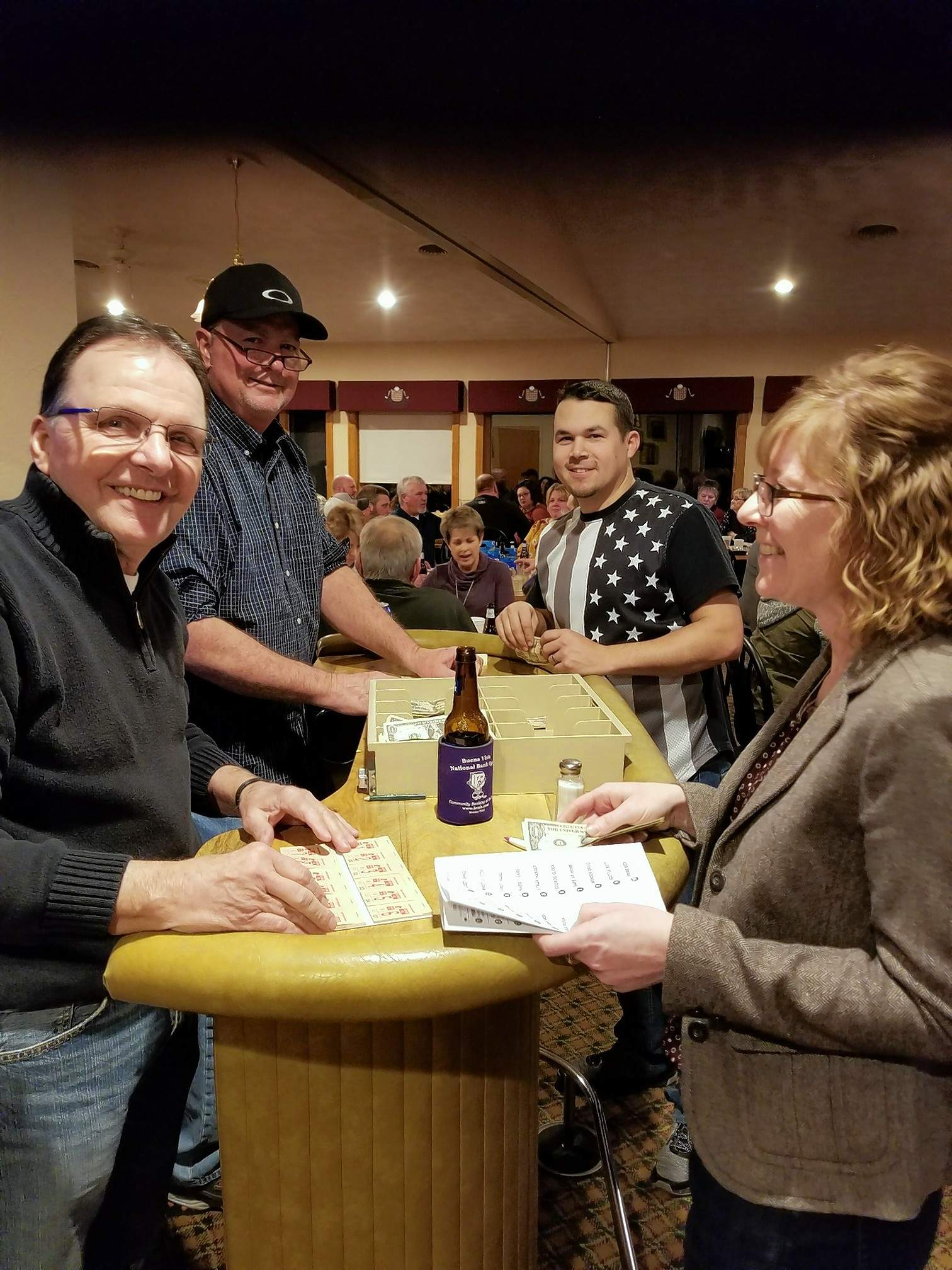 The Chester Chamber of Commerce held its first Night at the Race event Feb. 1 at the Chester Country Club. Proceeds were earmarked for the chamber scholarship fund. At left, Ron Nitszche and Mitch Eggemeyer man the betting table for the evening.