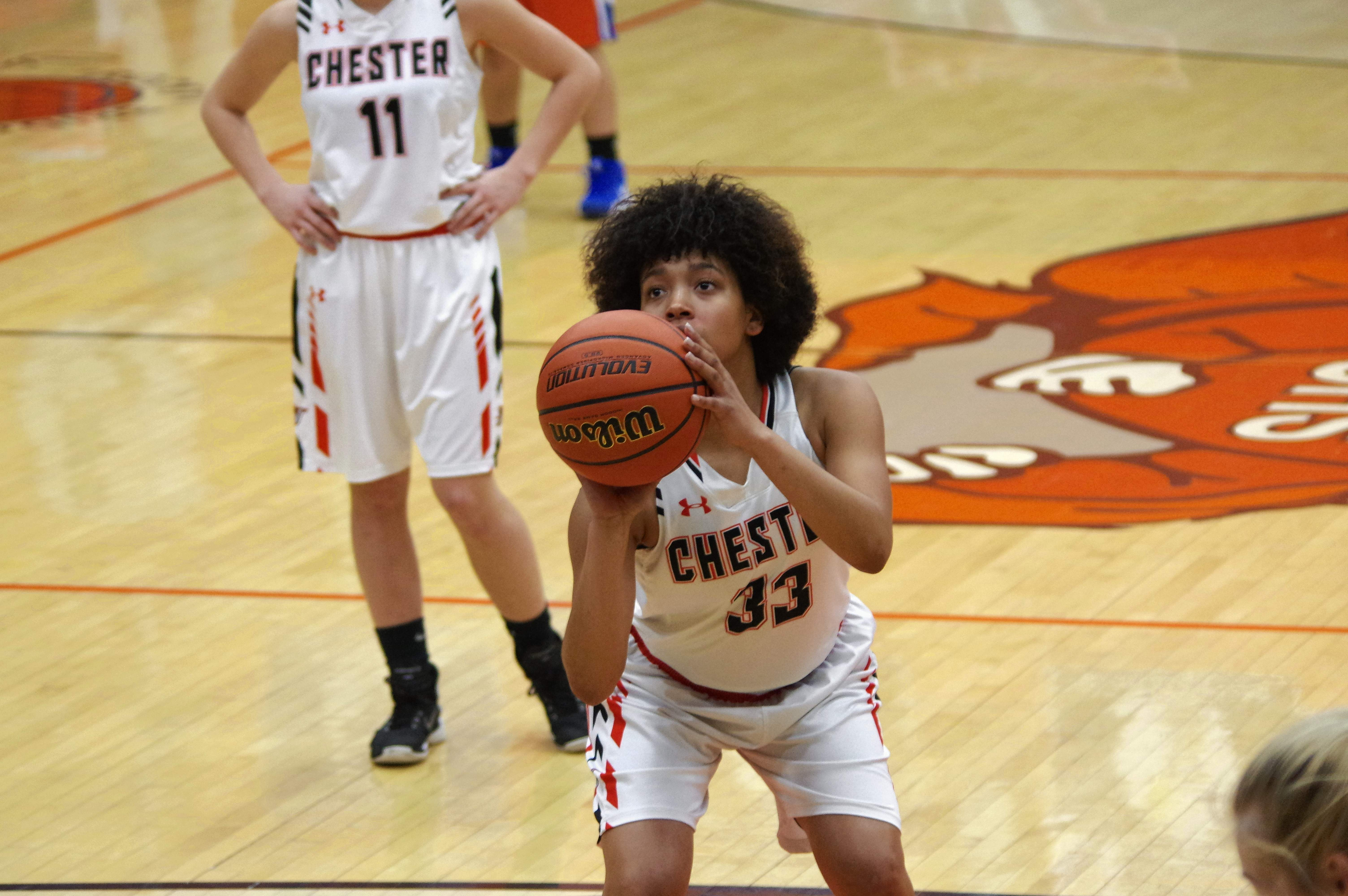 Destiny Williams eyes the basket early in the first quarter of the CHS vs Christopher game on Jan. 28.